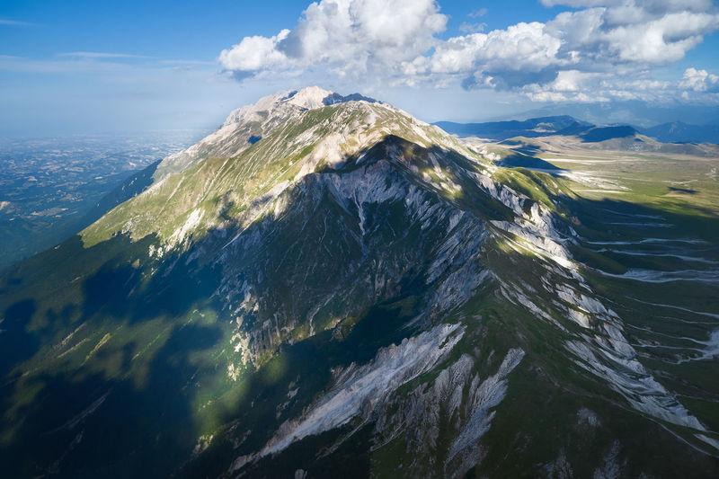 Aerial view of the mountain area of the gran sasso abruzzo