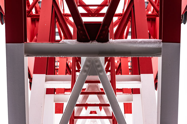Pylon, red and white painted steel tower. The fragments showing the details of construction, joins, rivets. Abstract Architecture Background Beam Built Closeup Color Construction Design Detail Engineering Environment Galvanized Steel Girder Heavy High Industrial Infrastructure Iron Machine Material Mechanic Mechanical Metal Metall Metall Construction Nobody Painted Pattern Pylon Red Shape Sky Solid Steel Stents Strength Strong Structure Structures SUPPORT Tall Technology Texture Tower Truss White Built Structure No People Day