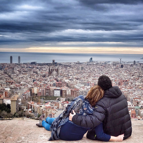Couple looking at city