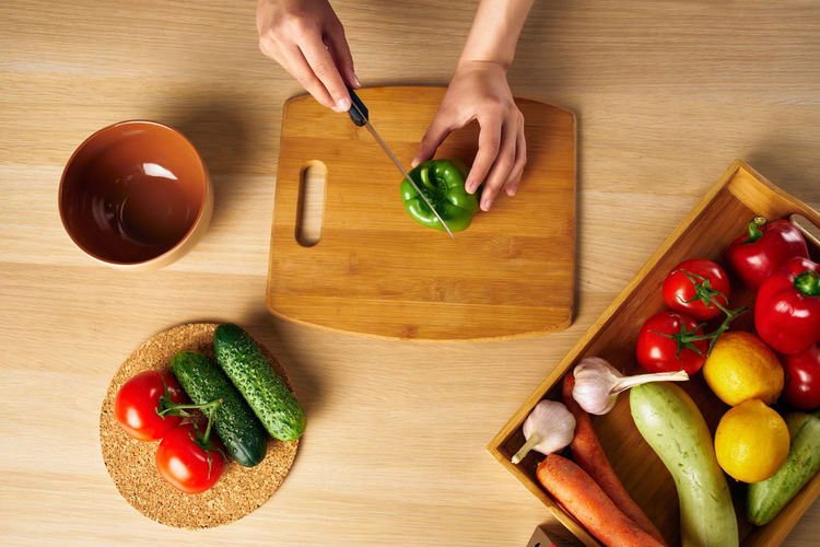 High angle view of vegetables on cutting board
