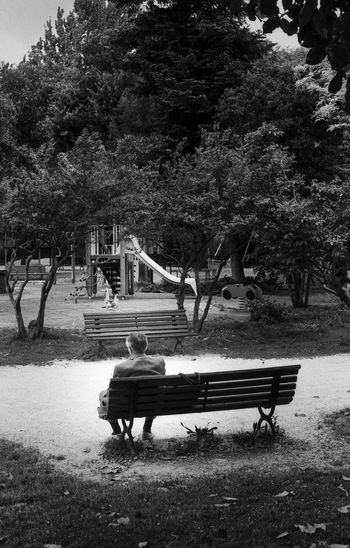 """Absence"" Pentax K1000 - 28mm - Rollei RPX 100 35mm Film Absence Bench Black Black And White Blackandwhite Dramatic Film Filmisnotdead Gardens Grandfather Grandpa Italy, K1000 Monochrome Outdoors Park Bench Pentax Playground Ravenna Road RPXTheater Sadness Silhouette Streetphotography"