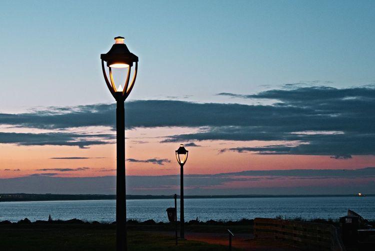 Aberdeen Beach Lighting Equipment Street Light Sunset Sky Cloud - Sky Scenics Nature Water Aberdeen Footdee Light Scotland Aberdeen Beach Sea Horizon Over Water Fittie Blue Night Outdoors Illuminated EyeEm Selects
