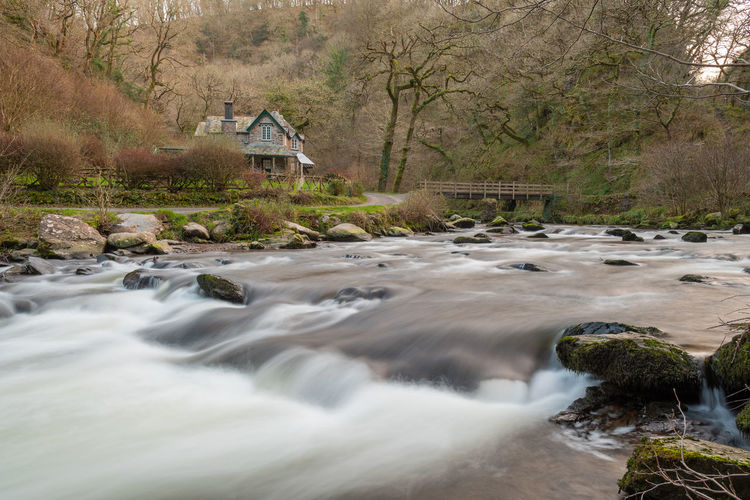 View of the east lyn river flowing past watersmeet house in exmoor national park