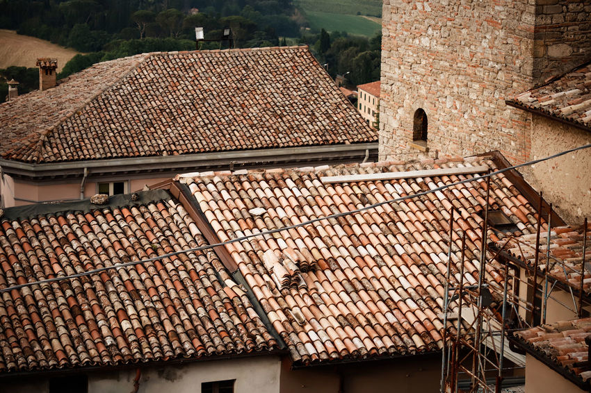 From My Point Of View Architecture Bertinoro Brown Building Building Exterior Built Structure City Communication Day Focus On Foreground High Angle View House Italy Nature No People Old Outdoors Residential District Roof Roof Tile Town TOWNSCAPE Window