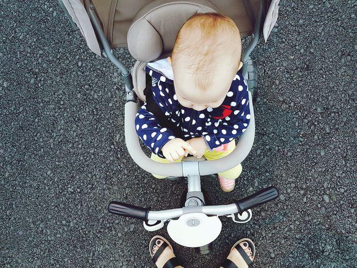 High Angle View Of Baby Girl