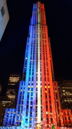 Rockefeller Plaza, NYC - November 7, 2016 NYC Skyscraper Illuminated New York City Rockefeller Center Rockefeller Plaza Election 2016