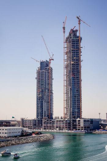 Dubai, uae, april 2019 the construction of high-rise buildings in dubai.