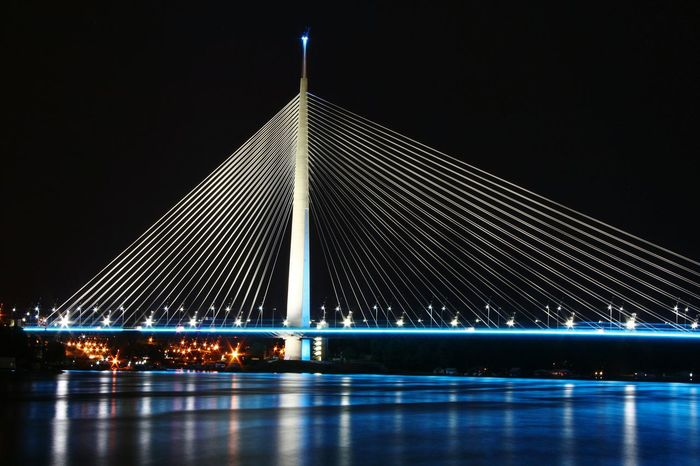 ***Europe's largest single pylon staye cable bridge🌉*** MostnaAdi Bridge Pylon Singlepylonbridge Color Reflections On The River Cablestayedbridge