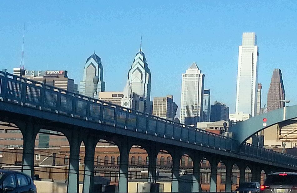 Going into the city. Philadelphia Downtown Philadelphia Ben Franklin Bridge Blue Sky Cityscapes Highrises City Downtown