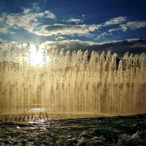 Sun and fountain Fountain Flowing Water Sky Outdoors No People Sunlight Saint Petersburg