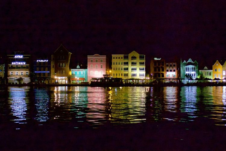 Handelskade UNESCO World Heritage Site Architecture Building Building Exterior Built Structure City Illuminated Night No People Reflection Residential District Water Waterfront