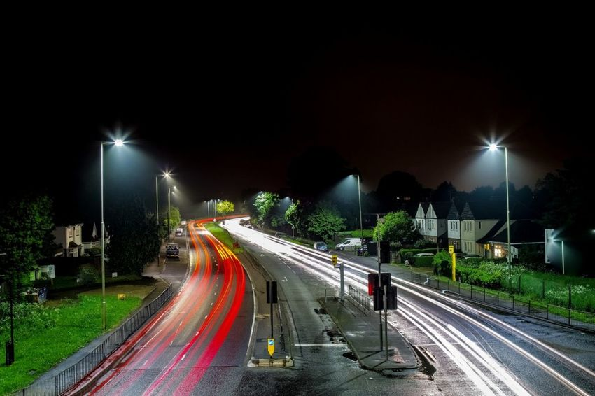 A10 cheshunt City Illuminated Road Motion Street Light Long Exposure Speed Light Trail Rush Hour Blurred Motion Vehicle Light Tail Light Highway Multiple Lane Highway Road Intersection