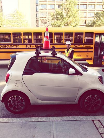 City Cars are so funny 😂 Smart Car with a Cone Head this car rack can maybe fit a skateboard!