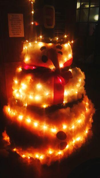 Snowman Illuminated Night No People Indoors  Close-up Christmas Ornament Tranquil Scene Scenics Freshness