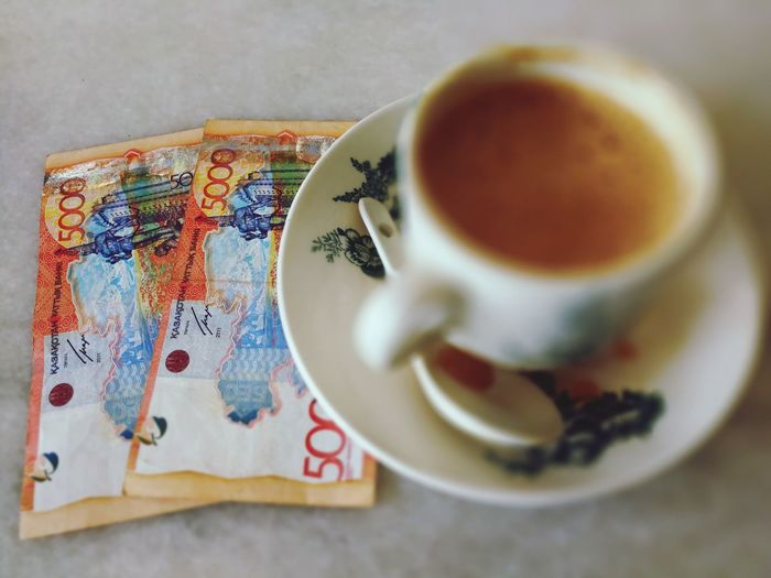 Drink Table Coffee - Drink No People Indoors  Close-up Day Freshness Holiday - Event Food And Drink Kazakhstan♥ Kazakhstan Currency Kazakhstani Tenge EyeEmNewHere Financialfreedom Earning EyeEm Selects