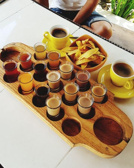 Testing flavoured tea and coffee in Bali Bali Tea Coffee Tasting Tea Table