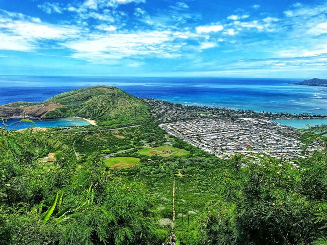Long way down Oahu Hawaii Photo Photography Water Sky Scenics - Nature Beauty In Nature Sea Land Tranquility Tranquil Scene Cloud - Sky Nature Beach No People Plant Day Horizon Over Water Horizon Green Color Sunlight Blue Outdoors