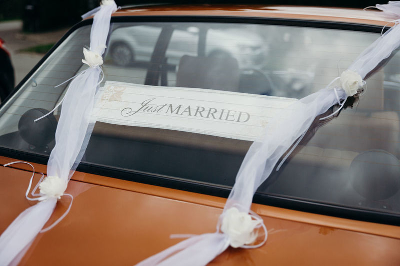 Wedding traditions: the just married car for the newlyweds. Photos taken during a wedding in Copenhagen, Denmark. Tradition Rice Just Married Wedding Wedding Photography Wedding Ceremony Wedding Day Wedding Photos Real Wedding Scandinavia Copenhagen Scandinavian Danish Car Wedding Car Mode Of Transportation Motor Vehicle Transportation Land Vehicle Window Glass - Material Windshield Text Celebration Day Transparent Focus On Foreground Life Events Event No People Western Script Reflection
