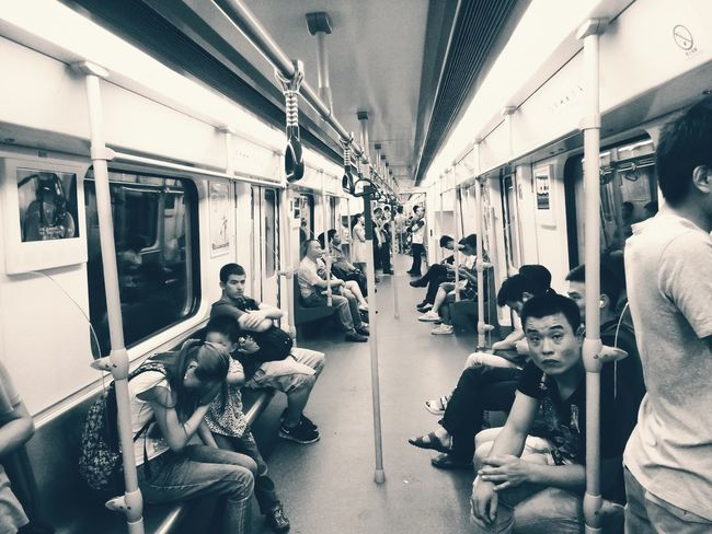 Public Transportation Train - Vehicle Subway Train Sitting Vehicle Interior Transportation Large Group Of People Mode Of Transport Real People Passenger Rail Transportation People Commuter Train Full Length Subwayphotography Subway Metro Metro Train People Photography People In Transit Commuter Eyempeople Blackandwhite Blackandwhite Photography Sepia Sepia_collection
