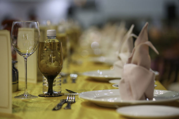 Dinner Time Bokeh Dine Fork & Knife Glass NapkinFolding Napkins Serving Food And Drinks Table Table Setting