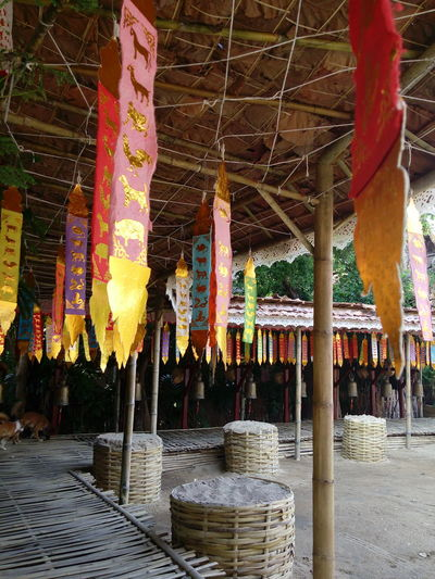 Multi Colored Hanging Outdoors Architecture Culture Cultural Heritage Colour Of Life Culture Of Thailand Northern Thailand Thailand Culture Thai Temple Asian Culture Color Of Budhism Culture And Tradition Sand Art Papercraft Paper Art Bamboodesign Bamboo Hut Hut Lanna Temple Lanna Architecture Lannaculture