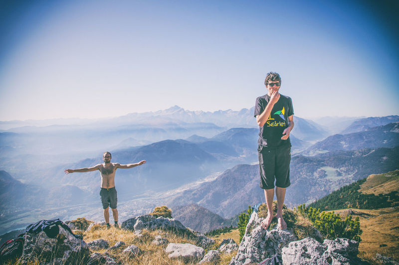 Vajnez, Weinasch, mountain on boardere of Slovenia and Austria Austria Slovenia Adult Arms Outstretched Arms Raised Beauty In Nature Day Full Length Happiness Human Arm Human Limb Leisure Activity Lifestyles Limb Mountain Mountain Range Nature Outdoors Scenics - Nature Sky Smiling Standing Sunlight Two People Women