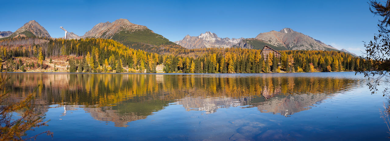 National Park of High Tatras from Strbske pleso lake Autumn Autumn Colors Clear Sky Nature Reflection Slovakia Strbske Pleso Tranquility Vysoke Tatry Blue High Tatras Lake Mountain Mountain Range No People Scenics Sky Tranquil Scene
