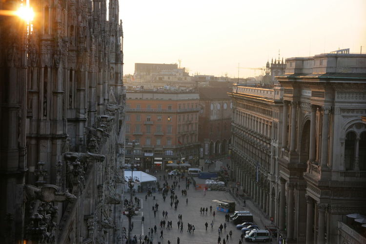 Elevated View Of People At Piazza Del Duomo