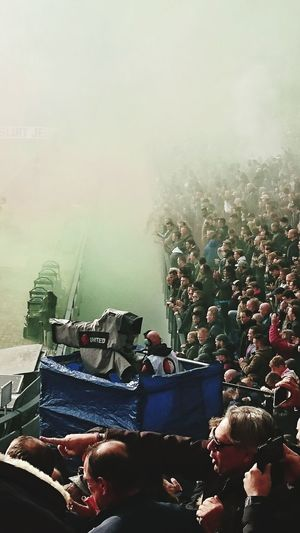 Feyaja Camera Man Soccer Match Klassieker El Classico Smoke Large Group Of People Stadion De Kuip Rotterdam Netherlands Outdoors (c) 2017 Shangita Bose All Rights Reserved