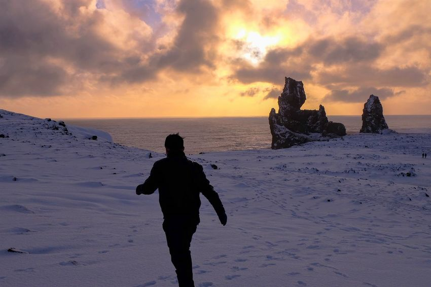 Beach Beauty In Nature Cold Day Enjoying Life Iceland Nature One Person Outdoors People Sea Silhouette Sky Snow Standing Sunset Travel Walking Around
