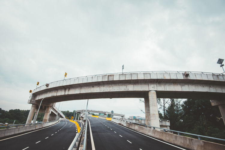Bridge over highway against sky