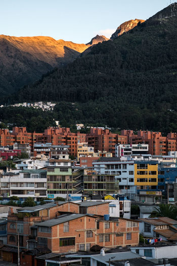 Houses Rucu Pichincha Shade Architecture Beauty In Nature Building Exterior Built Structure City Cityscape Community Crowded Day Mountain Mountain Range Nature No People Outdoors Pichincha Sky Sunrise Tree