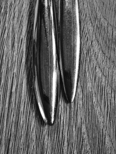 Metal Cuttlery Knife Fork Wood Table Blackandwhite Monochrome