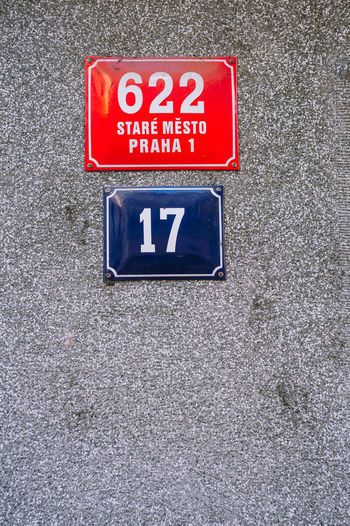 Prague Old Town street sign Prague Prague Czech Republic Prague Old Town Street Sign Retro Vintage Text Red Sign No People Blue Day High Angle View Wall - Building Feature Close-up Number