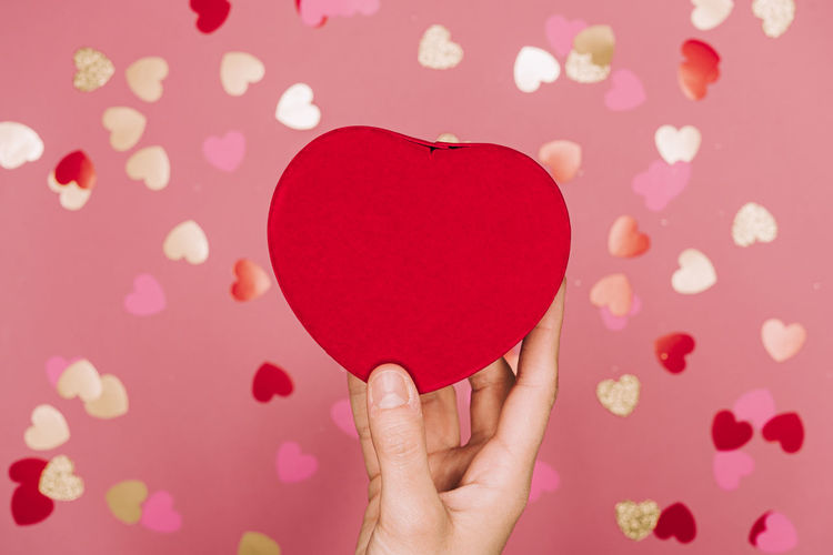 Close-up of woman hand holding heart shape
