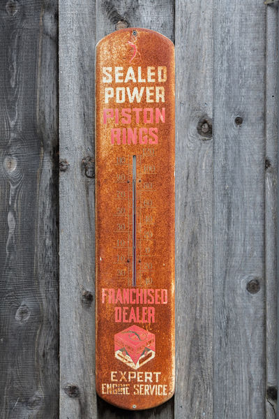 Thermometer Sign Antique Thermometer Sign Barn Swallow Capital Letter Close-up Communication Day Engine Service Forbidden Information Information Sign Metal Sign No People Non-western Script Outdoors Piston Rings Adver Sign Text Western Script Wood - Material Wooden