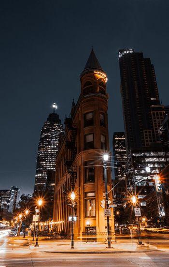 Illuminated city at night