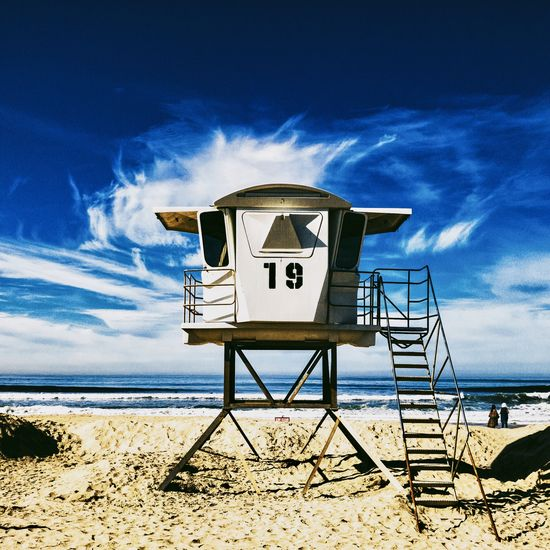 Baywatch Beach Beauty In Nature Built Structure Cloud - Sky Day Horizon Over Water Life Gaurd On Duty Lifeguard  Lifeguard Hut Nature No People Outdoors San Diego Sand Sea Shadow Sky Sunlight Water The Architect - 2017 EyeEm Awards The Great Outdoors - 2017 EyeEm Awards