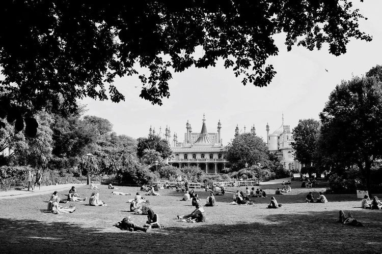 Enjoy The New Normal Tree Architecture Religion Spirituality Travel Travel Destinations Building Exterior Built Structure History Outdoors Place Of Worship Sky Real People Large Group Of People Day Brighton Royal Pavilion Garden