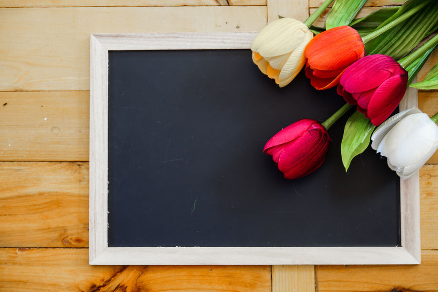 Arrangement Blackboard  Close-up Day Directly Above Flower Flower Head Food Fragility Freshness Healthy Eating High Angle View Indoors  Nature No People Still Life Table Tulip Wood - Material