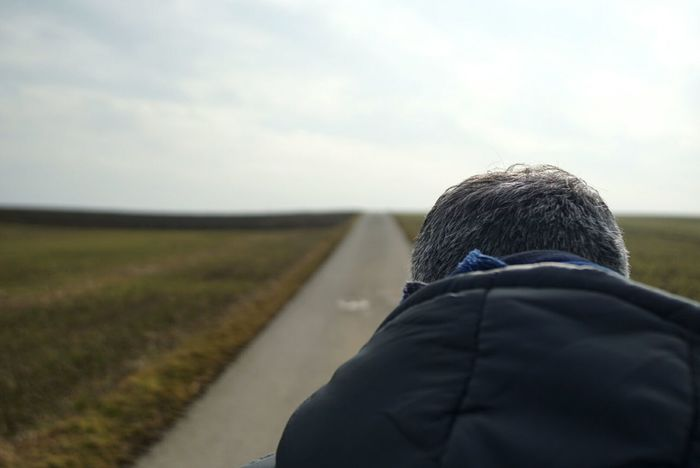 fog has gone One Man Only One Person Rear View Men Hooded Shirt Headshot Winter Outdoors Cold Temperature Chilly Day Outdoor Photography Out In The Fields Winter 2017 Würzburg Foggy Morning Sunday Morning Landscape Road To Nowhere Sony A6000