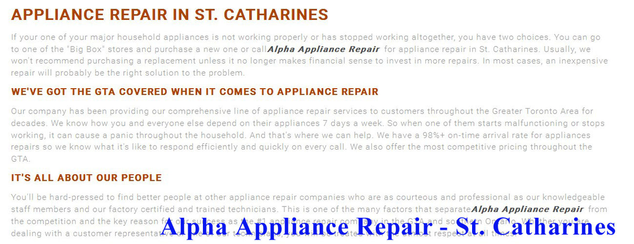Alpha Appliance Repair 195 King St #208 St. Catharines, ON L2R 3J6 (289) 273-4798 Appliance Repair St. Catharines Appliance Repair Service St. Catharines Refrigerator Repair St. Catharines Small Appliance Repair Service St. Catharines Small Appliance Repair St. Catharines