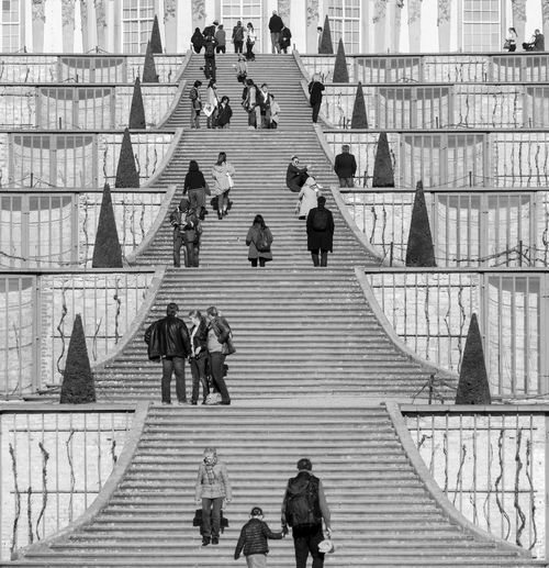Black And White Street Photography Sansoucci Steps Parc Park Park - Man Made Space Best Of Stairways Traveling Famous Place Group Of People Real People Architecture Crowd Large Group Of People Women Men Adult Built Structure Lifestyles Building Exterior Staircase High Angle View Day City Leisure Activity Sitting Walking Steps And Staircases Outdoors Streetwise Photography