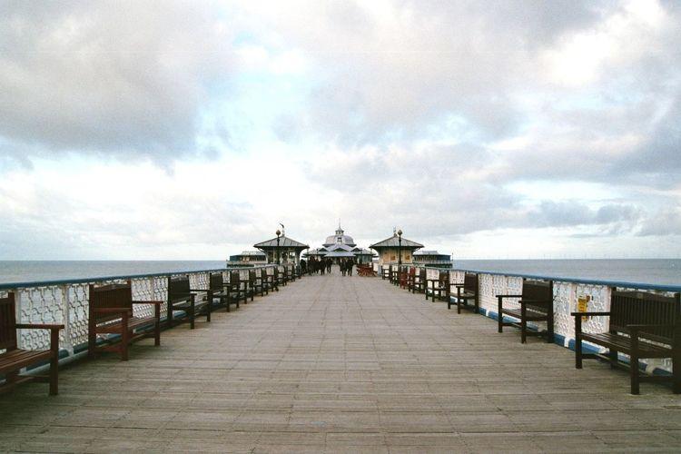 Straight Path 35mm Film Analogue Photography Film Minolta Wales Cloud - Sky Day Horizon Over Water Llandudno Pier Sea Sky Water Wood Paneling