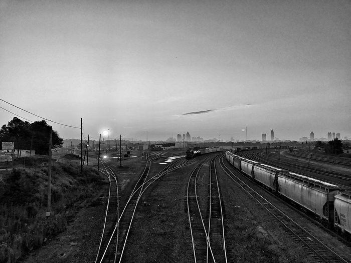 Railroad Track Blackandwhite Urban Skyline Sunrise