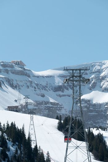 Snow Sky Mountain Scenics - Nature Beauty In Nature Snowcapped Mountain Nature Day Cable Car Mountain Range White Color Clear Sky Covering Environment Cable Tranquil Scene Transportation No People Outdoors Electricity  Ski Resort
