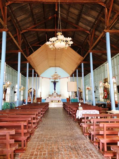 Inside St Joseph Church Architecture Built Structure Ceiling Indoors  Religion Place Of Worship Seat Belief Wood - Material Spirituality Table Architectural Column In A Row Building No People Day