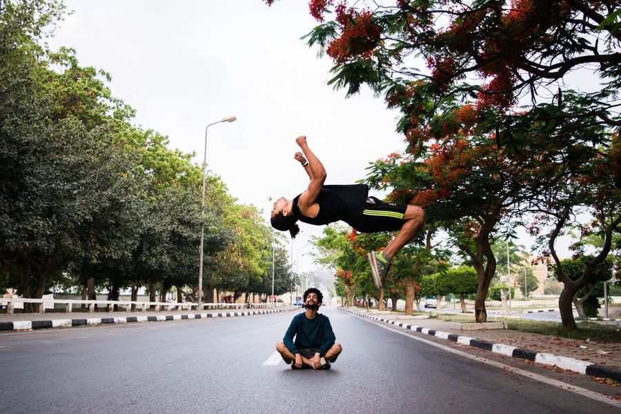 Morning Lifestyles Two People Flexibility Ismailia Egypt Parkour Having Fun