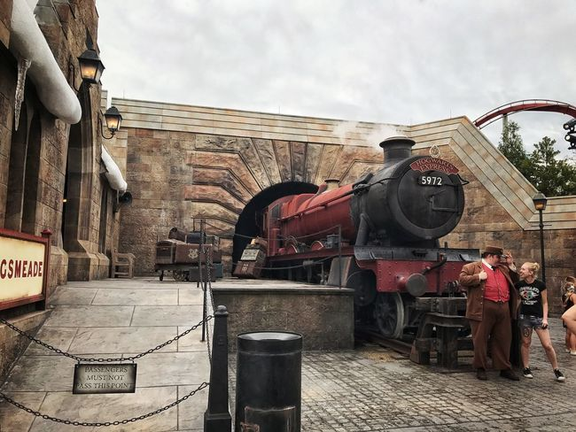 Hogwarts Express train at Universal Island of Adventure in Orlando, FL. Day Outdoors Building Exterior Real People Editorial  Tourism Travel Universal Studios  Orlando Florida Live For The Story Train Hogwarts Harry Potter
