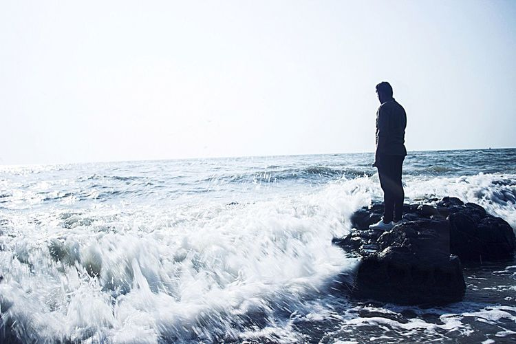 Long Goodbye Sea Lifestyles Beauty In Nature Outdoors Leisure Activity Wave Scenics Nature One Person Men Clear Sky Real People Full Length Water Winter Adventure Day Cold Temperature Sky One Man Only